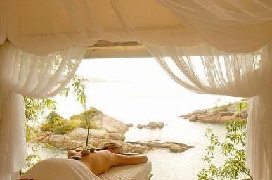 mettre rideau et image de fond ds salle massage