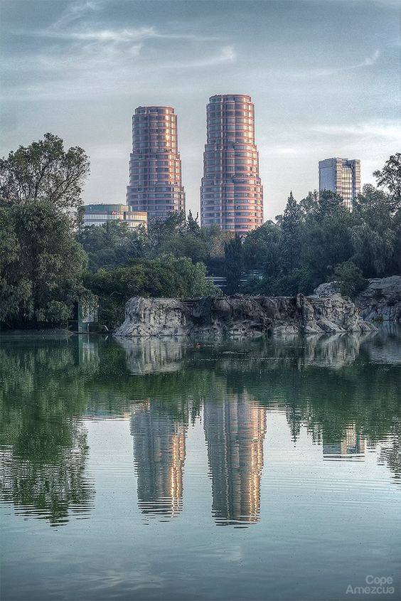 """César Pelli, 2000, """"Residencial del Bosque"""" great view from the lake at Chapultepec Park, Mexico City"""