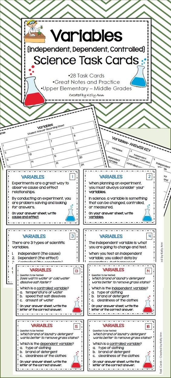 Task Cards - Variables {Independent, Dependent, Controlled}