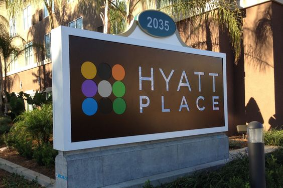 Hyatt Place is just south of the Anaheim Convention Center and is right in front of the Cortona Inn & Suites.  It is walkable, but driving or taking the Anaheim Resort Transportation bus might work out better.