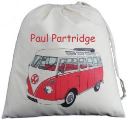 Personalised VW Split Screen Camper Van Large Drawstring Bag - Red
