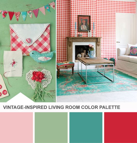 Vintage colors design and living rooms on pinterest for Mint green living room ideas