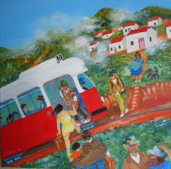 Aliru (©2014 artmajeur.com/aliru) Emigrantes. Una chica inicia un nuevo viaje en su vida. Los pasajeros locales  esperan su turno para tomar el tranvía vienés en los Andes. Un joven europeo  viaja por los Andes.