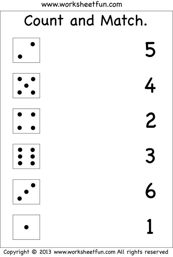 Numbers – Count And Match / FREE Printable Worksheets – Worksheetfun Free  Kindergarten Worksheets, Kindergarten Math Worksheets, Numbers Preschool