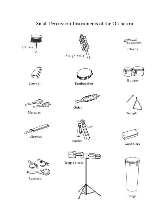 instruments of the orchestra coloring pages - the percussion family small drawings of small