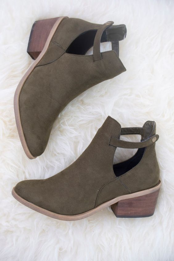 $44 + Free Shipping // Side Kicks Suede Cutout Ankle Boot- Olive