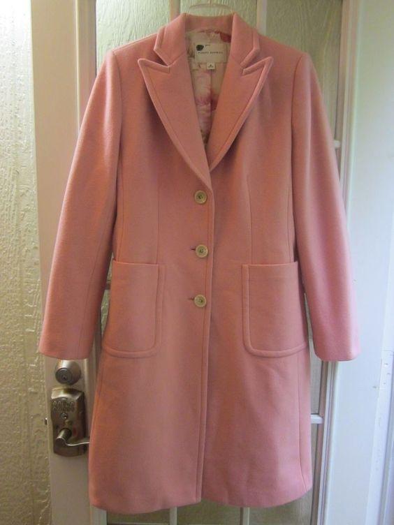 "Banana Republic Pink Wool Floral Lining Button Up Long Sleeve Coat ""Women M""  #BananaRepublic #ButtonFrontBasicCoat"