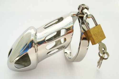 """""""Rikers"""" Elegant Chastity Device Cage 2"""" Cock ring . Steel Chrome plated devise by Manhood AcademyTM . Made in USA"""