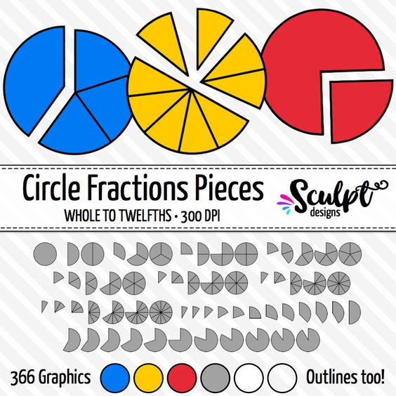 Circle fractions clip art. Fractions in pieces! Click to view more...