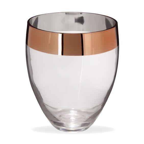 vase en verre transparent et cuivr h21cm cuivre lena On vase deco salon