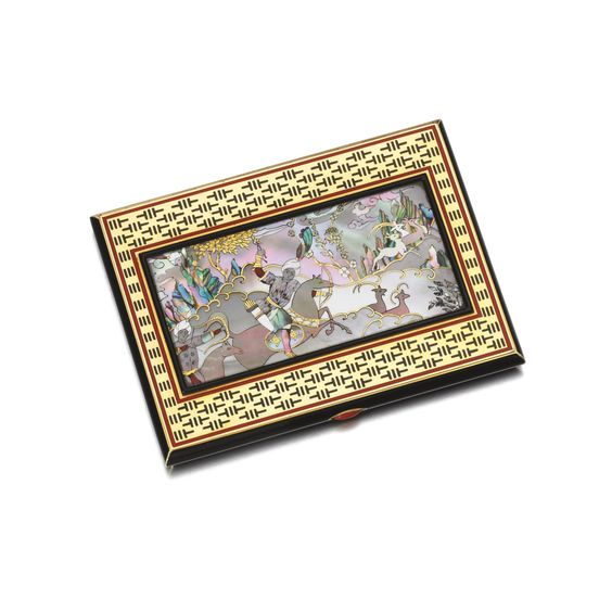 Mother-of-pearl, enamel, lacquer and coral cigarette case, 1930s The front inlaid with mother-of-pearl depicting an Orientalist scene, applied with red and black enamel and black lacquer to the front and reverse, the push button set with polished coral, French assay and maker's marks, measuring approximately 100 x 75 x 10mm.