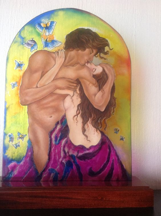 Pintura sobre vidrio Lupita de la Mora