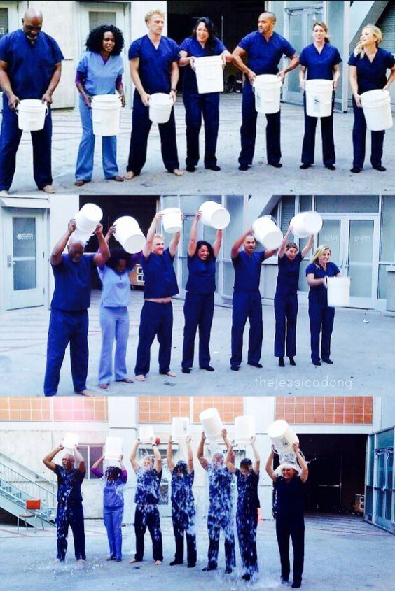 ice bucket challenge for ALS awareness Greys Anatomy cast style!