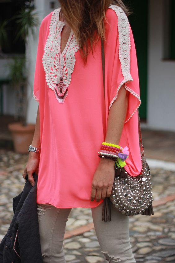 Pink tunic + cargo green