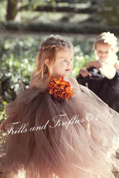 Chocolate Brown Flower Girl Halter Dress, great for those Autumn and Winter weddings by Frills and Fireflies