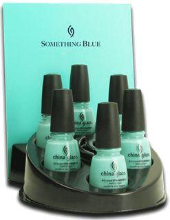 """China Glaze nail polish in """"For Audrey"""". A true Tiffany blue."""