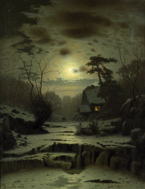 Winter Landscape - Louis Douzette  1869  (Note: Louis Douzette, 1834-1924, was German and a member of the Association of Berlin Artists. Many of his paintings are night scenes. His use of light lends interest to this oil on canvas laid on canvas. Full title of work is Winter Full Moon Landscape with House on a Small Lake. — A Thousand Winds.)