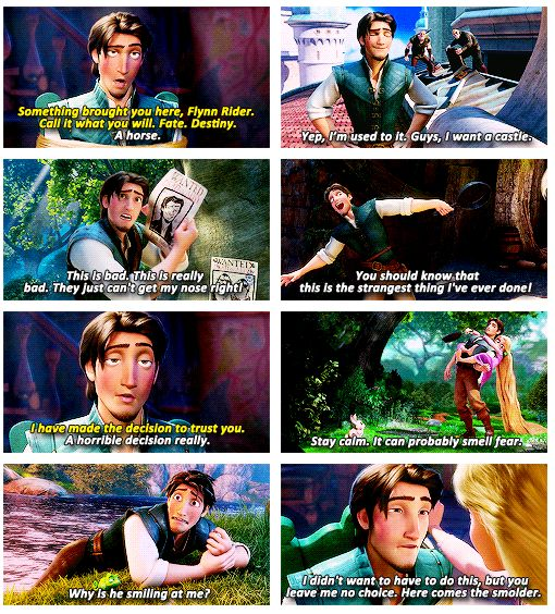 Flynn Rider. Sass overload <-I thought that said Sass OverLORD. He might have to fight Martin Freeman for that crown.