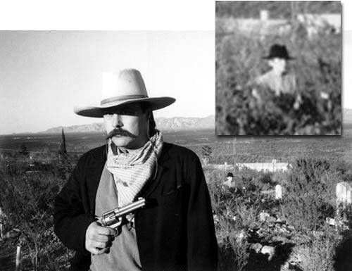 Photo by Terry Ike Clanton, an actor, recording artist and cowboy poet, and is also a cousin of the legendary Clanton Gang who clashed with the Earps and Doc Holliday at the famous gunfight at OK Corral. Clanton took this photo of his friend at Boothill Graveyard. The photo was taken in black and white because he wanted Old West-looking pictures of himself dressed in Clanton's 1880-period clothes. Clanton took the film for developing to the local Thrifty Drug Store, and when he got it back…