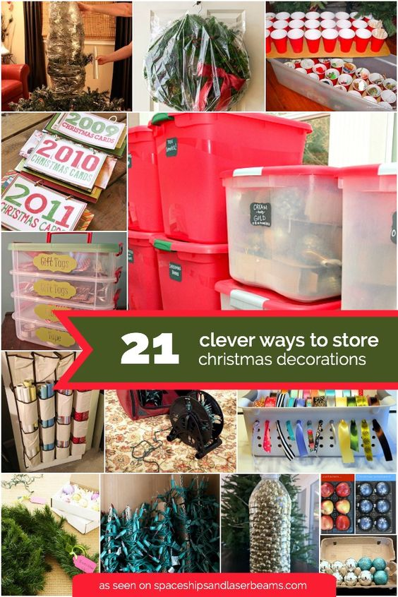 """While Christmas is definitely """"the most wonderful time of the year"""", post-Christmas cleanup can be anything but. We're sharing a roundup of 21 creative Christmas decoration storage ideas so you can take the post-Christmas chaos off the agenda. From ideas for... #christmas #decoration #featured"""