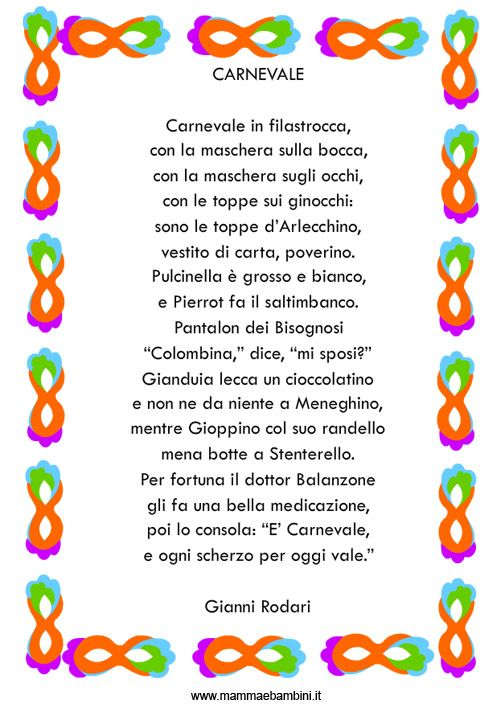 Carnevale in Filastrocca, di Gianni Rodari: