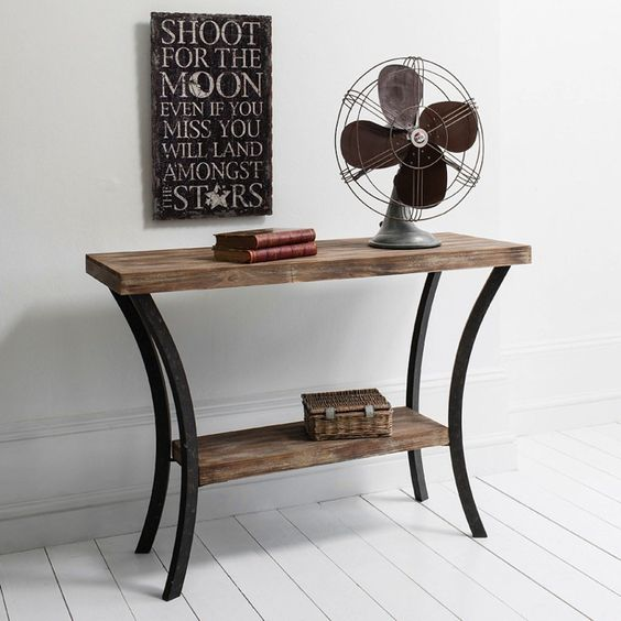 Telephone Console Table sophisticated wooden metal contemporary retro style hallway