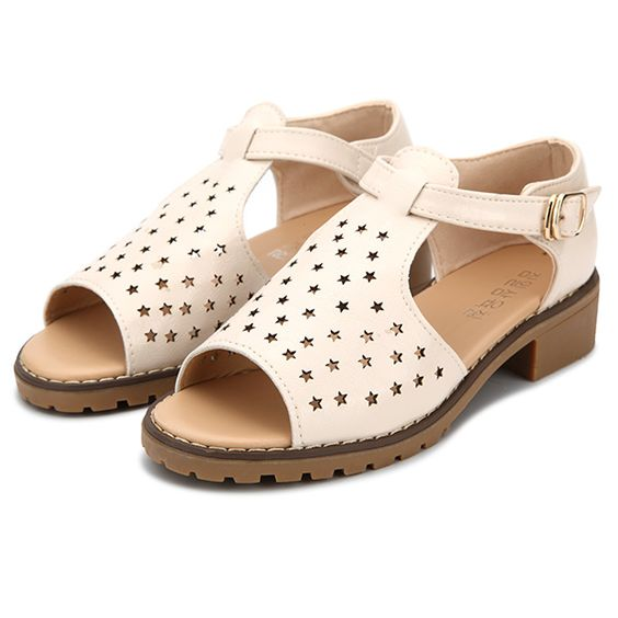 Women Summer Strap Peep Toe Beach Sandals Star Hollow Out Flat Sandals