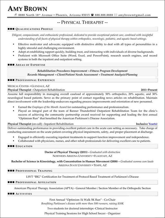 Physical Therapy Resume Example | Physical Therapist | Resumes