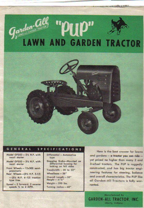 Garden All Pup Brochure 1000 Garden Tractor Vintage Tractors Garden Tractor Pulling