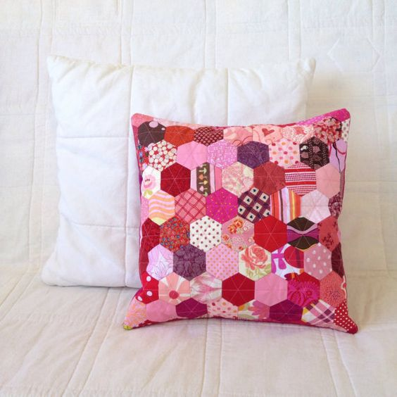 Hey, I found this really awesome Etsy listing at https://www.etsy.com/listing/227242578/patchwork-hexagon-cushion-cover-cherry