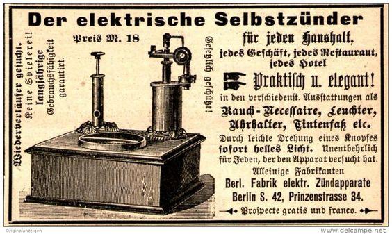 Original-Werbung/ Anzeige 1894 - DER ELEKTRISCHE SELBSTZÜNDER /FABRIK ELEKTRISCHER ZÜNDAPPARATE - BERLIN- ca. 90 x 50 mm