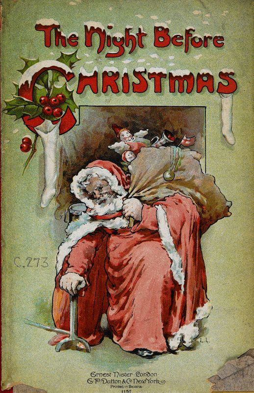 On the 23rd December 1823 'A Visit from St. Nicholas', also know as 'The Night Before Christmas was published. Image: Illustrated front cover of 'The Night Before Christmas', London, 1904. Illustrator: Lizzie Lawson © The British Library Board: