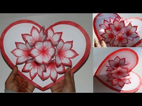 Easy Flower Pop Up Card Paper Crafts Handmade Craft Youtube Handmade Craft Cards Pop Up Flower Cards Paper Crafts