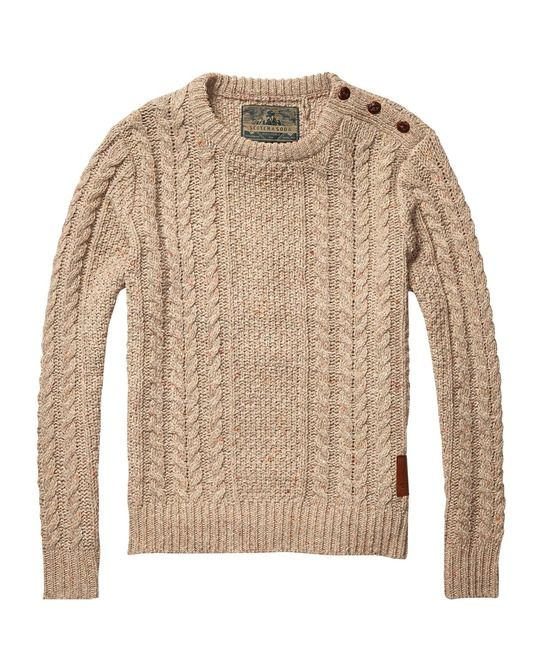 cable knitted crew neck pull mens clothing pullovers. Black Bedroom Furniture Sets. Home Design Ideas