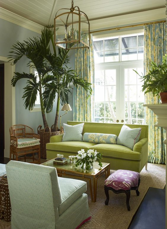 - laurel bern home~notice the rattan chair and custom-cut seagrass rug; love the print curtains...