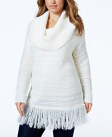 American Rag Plus Size Cowl-Neck Fringe-Hem Sweater, Only at Macy's