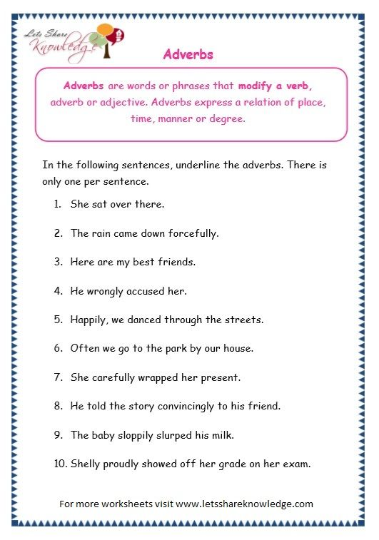 Grade 3 Grammar Topic 16: Adverbs Worksheets - Lets Share ...