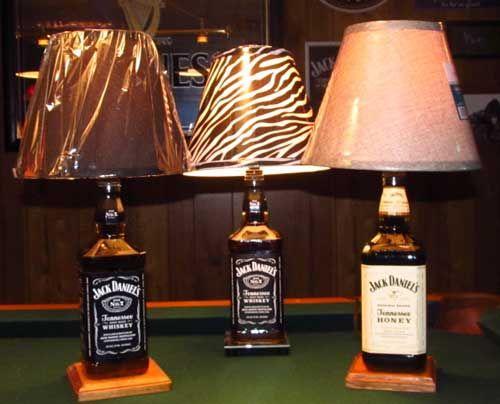 lamps made out of bottles liquid filled jack daniels bottle lamps by steve christina. Black Bedroom Furniture Sets. Home Design Ideas