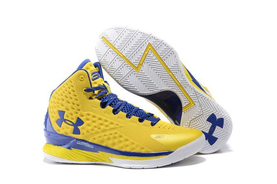 blue and yellow under armour basketball shoes