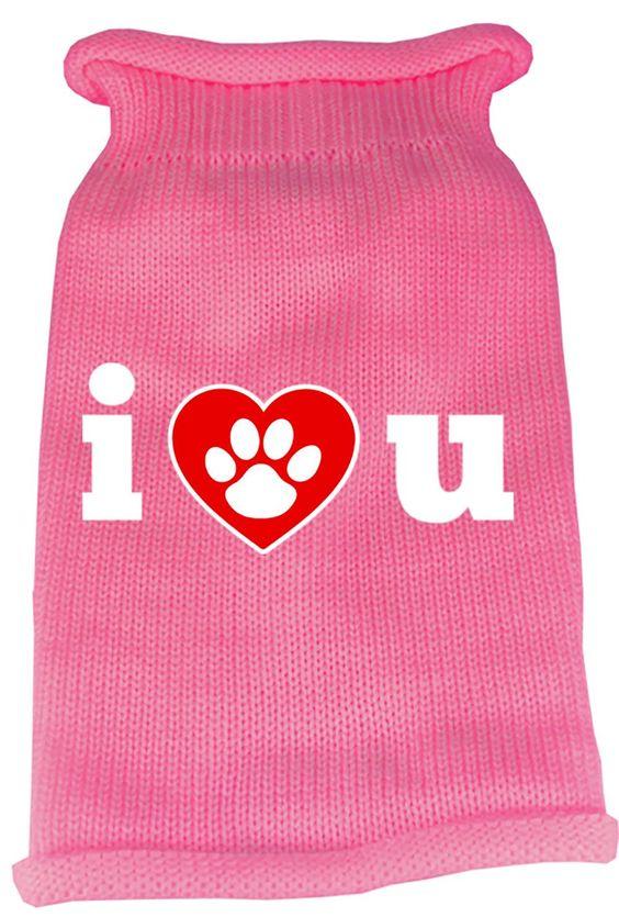 I Love You Screen Print Knit Pet Sweater LG Pink