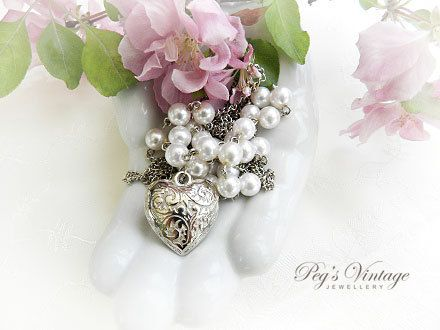 Multi Silver Tone Chains With Etched Puffy by PegsVintageJewellery, $18.00