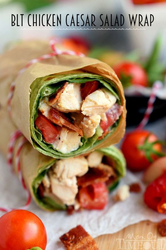 BLT Chicken Caesar Salad Wrap - Has all the makings to become your new go-to recipe! Chicken, bacon, Caesar dressing, and tomato are wrapped up in an easy-to-make meal that is perfect for a light dinner or lunch.