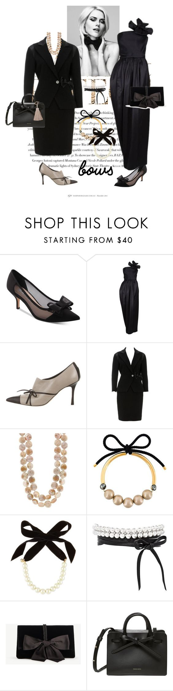 """""""#Bows"""" by wendycecille ❤ liked on Polyvore featuring Envi:, Nina, Manolo Blahnik, Chanel, Marni, Lulu Frost, Fallon, Ann Taylor and Humble Chic"""