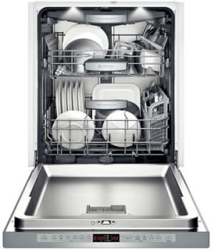 Bosch SHE8PT55UC Semi-Integrated Dishwasher with 16 Place Setting Capacity, 6 Wash Cycles, 5 Options, Interior Light, Full Color Clear Text Display, Water Softener, 40dBA, Recessed Handle and Energy Star Rated