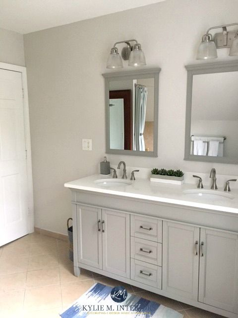 The 9 Best Benjamin Moore Paint Colors Grays Including Undertones Beige Tile Beige Tile Bathroom Benjamin Moore Paint Colors Gray