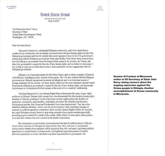 Senator Al Franken of Minnesota writes to US Secretary of State John - accomplishment report