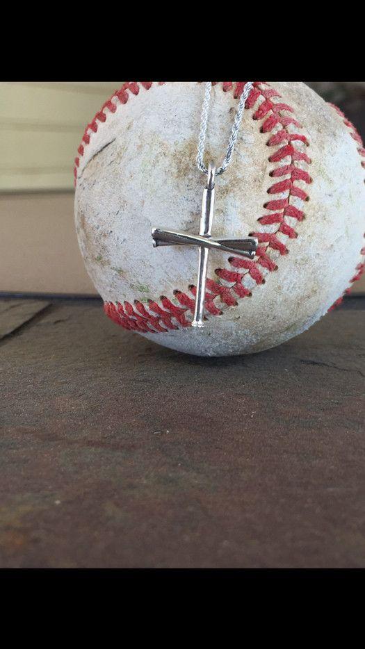 Baseball Bat Cross And Chain Silver Baseball