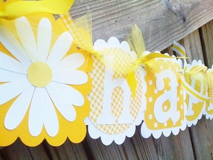 This pretty yellow and white Happy Birthday banner would make a beautiful addition to any birthday party! Use scalloped squares and circles to back the letters of the banner and add flower to the ends! So pretty! Find solid and polka dot yellow cardstock at www.cardstockshop.com for your next banner project!                                                                                                                                                     More