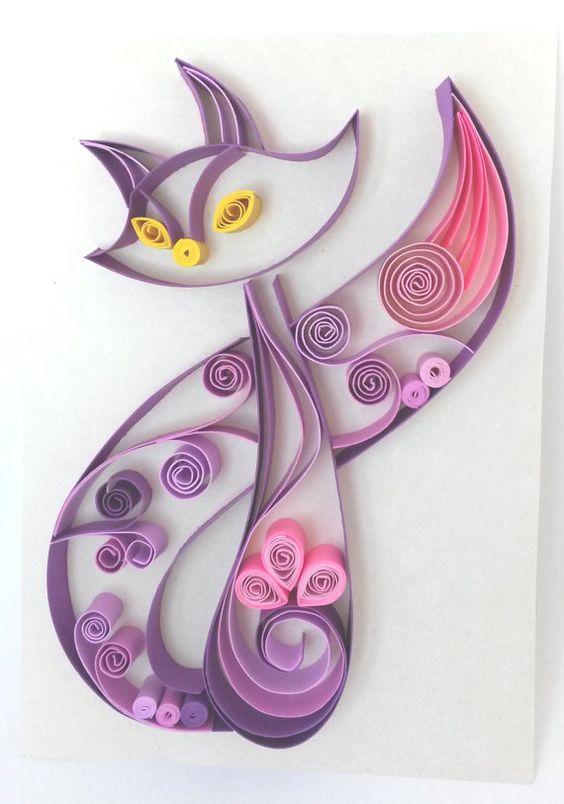 Purple Fox Paper Quilling Art Custom Quilling Wall Art Fox Home Decor Cat