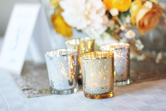 """Amazon.com: Just Artifacts Mercury Glass Votive Candle Holder 2.75""""H (12pcs, Speckled Gold) -Mercury Glass Votive Tealight Candle Holders for Weddings, Parties and Home Decor: Home & Kitchen"""